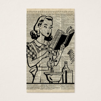 Cooking Girl Illustration over Old Book Page Business Card