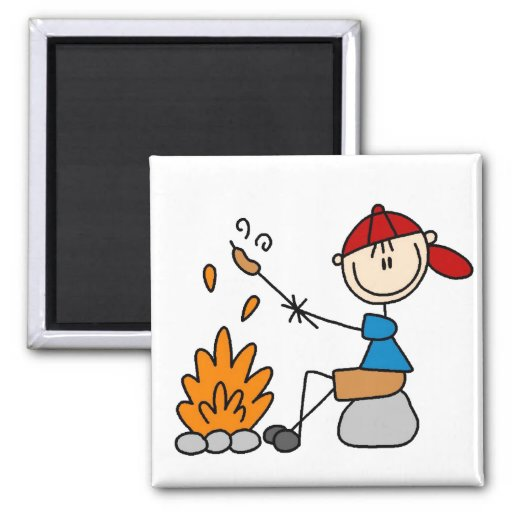 Cooking Hot Dogs Campire Magnet Magnet