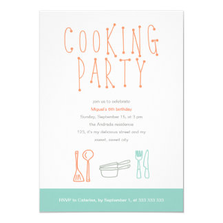 Cooking Party Birthday Kitchen Utensils Doodle 6th 13 Cm X 18 Cm Invitation Card