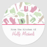 Cooking Pattern Kitchen Label Round Sticker