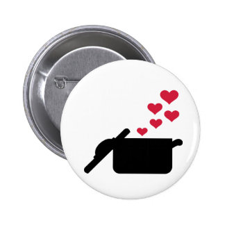 Cooking pot red hearts pinback button
