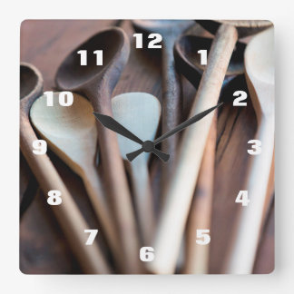 Cooking spoons square wall clock