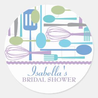 Cooking Utensils Kitchen Bridal Shower | Retro Round Sticker