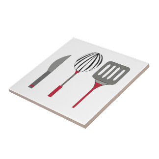 Cooking Utensils Small Square Tile