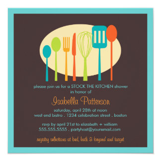 Cooking Utensils Stock the Kitchen Bridal Shower 13 Cm X 13 Cm Square Invitation Card