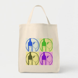 Cooking with Wine Pop Art Grocery Tote Bag