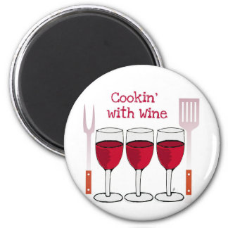 COOKING WITH WINE RED WINE AND BBQ TOOLS PRINT MAGNET