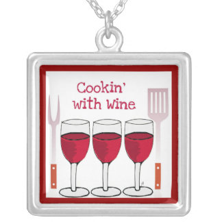 COOKING WITH WINE RED WINE PRINT SQUARE PENDANT NECKLACE