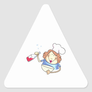 Cooking With Wine Triangle Sticker