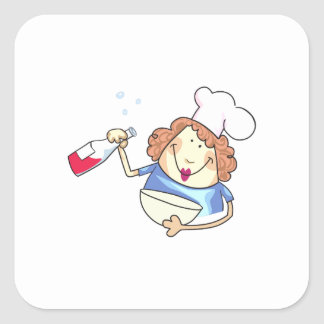 Cooking With Wine Square Sticker