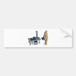 CookingRetroStoveSpeckledPots042014.png Bumper Sticker