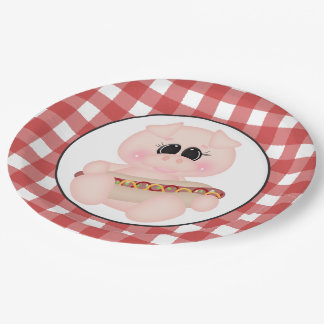 Cookout Pig Hotdog paper plate 9 Inch Paper Plate