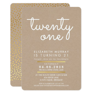 COOL 21st birthday party INVITE rustic kraft white