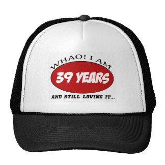 cool 39 years old birthday designs mesh hat