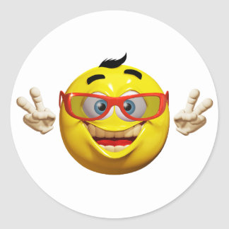 Cool 3d  emoticon with peace sign Sticker