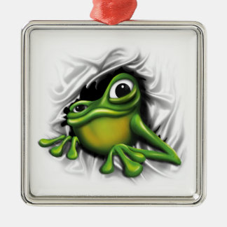 Cool 3D Frog Silver-Colored Square Decoration