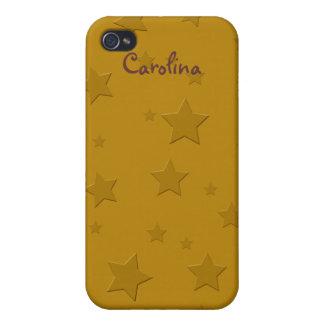 Cool 3D Gold Stars Custom Name Skin iPhone 4/4S Cover