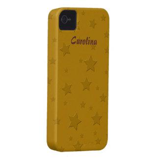 Cool 3D Gold Stars Custom Name Skin iPhone 4 Case