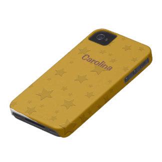 Cool 3D Gold Stars Custom Name Skin iPhone 4 Cases