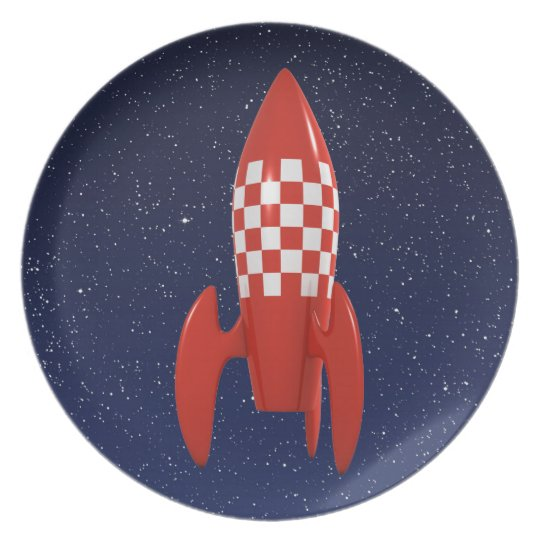 Cool 3d Retro SciFi Space Rocket Spaceship Plate