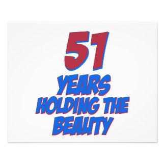 cool 51 years old birthday designs custom flyer