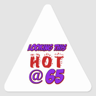 cool 65 years old birthday designs triangle stickers
