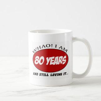 cool 80 years old birthday designs basic white mug