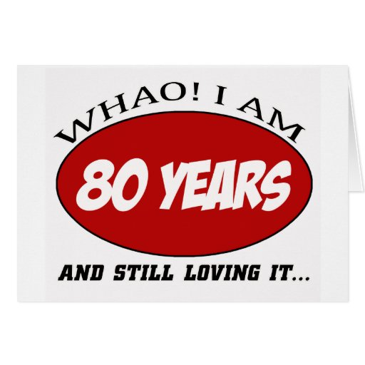 cool 80 years old birthday designs greeting cards