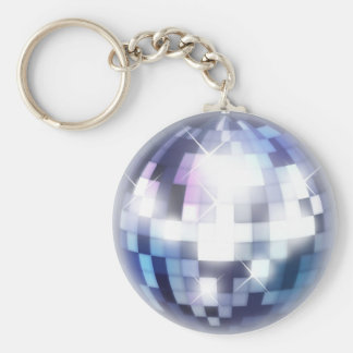 Cool 80s Disco Ball Basic Round Button Key Ring