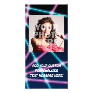 Cool 80s Laser Light Show Background Retro Neon Custom Photo Card