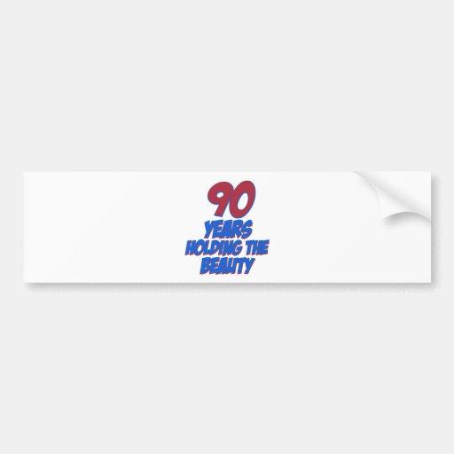 cool 90 years old birthday designs bumper sticker