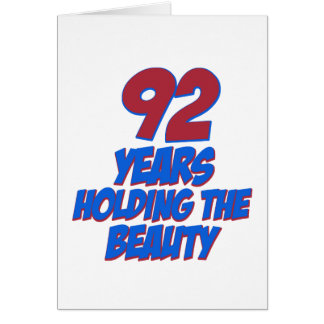 cool 92 years old birthday designs greeting card