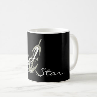 Cool Abstract Cello Star Black Monogrammed Mug