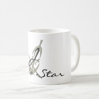 Cool Abstract Cello Star Monogrammed Mug