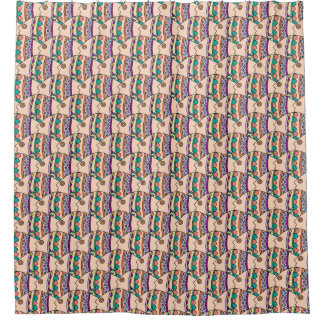 Cool Abstract Fish Design All Over Pattern Shower Curtain