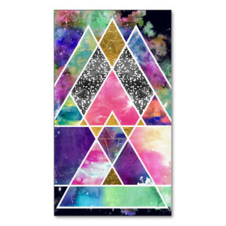 Cool abstract geometric triangles watercolor magnetic business cards