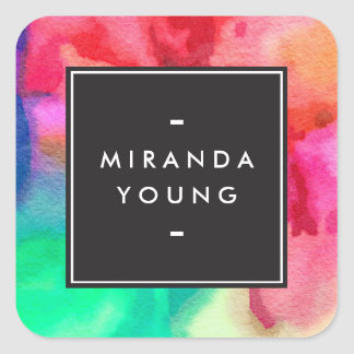 Cool Abstract Multi-color Watercolors Modern Square Sticker