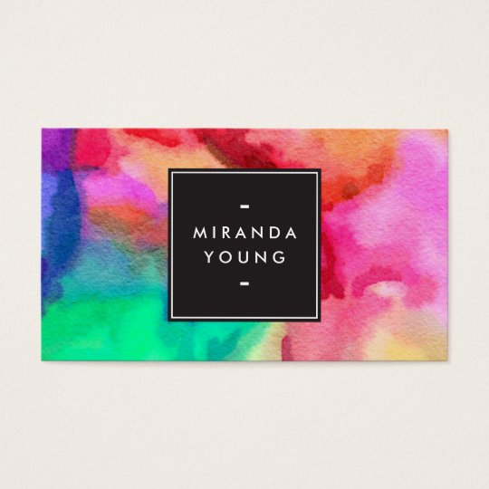 Cool Abstract Multi-colour Watercolors Modern Business Card