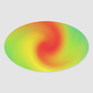 Cool Abstract Rainbow Wave Art Oval Sticker