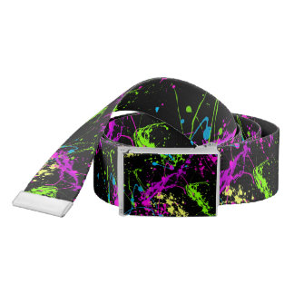 Cool Abstract Retro Rainbow Paint Splatter Black Belt