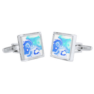 Cool abstract turquoise blue fluid cufflinks silver finish cuff links