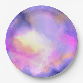 Cool Abstract Watercolor Cosmic Space Design 9 Inch Paper Plate
