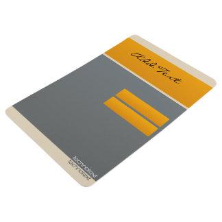 Cool Add Text Orange Grey Color Block Floor Mat