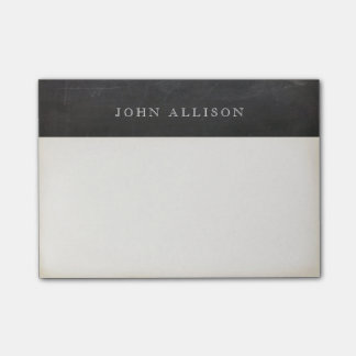 Cool Aged Vintage Guy's Black Chalkboard Post-it Notes