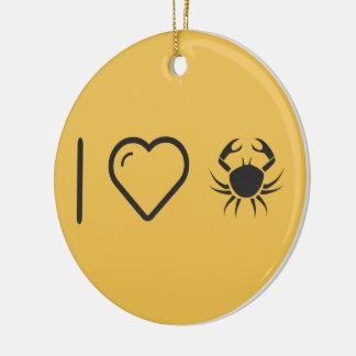Cool Aggressive Crabs Round Ceramic Decoration