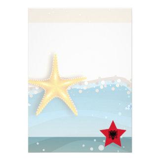 Cool Albania Flag at the Beach 13 Cm X 18 Cm Invitation Card