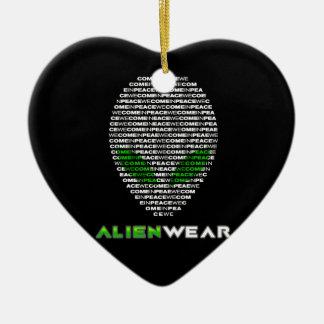 Cool Alien Wear Ceramic Heart Decoration