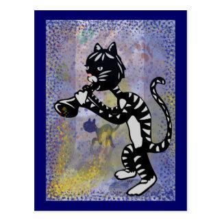 Cool Alley Jazz Cat Postcard