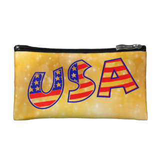 Cool America Flag letters trendy gold bright Cosmetic Bags