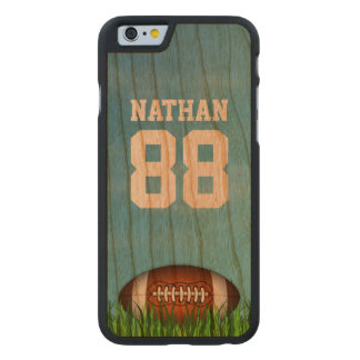Cool American Football on the Grass Custom Name Carved Cherry iPhone 6 Case